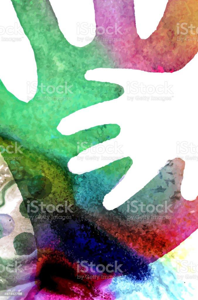 Watercolor Hands Illustration vector art illustration