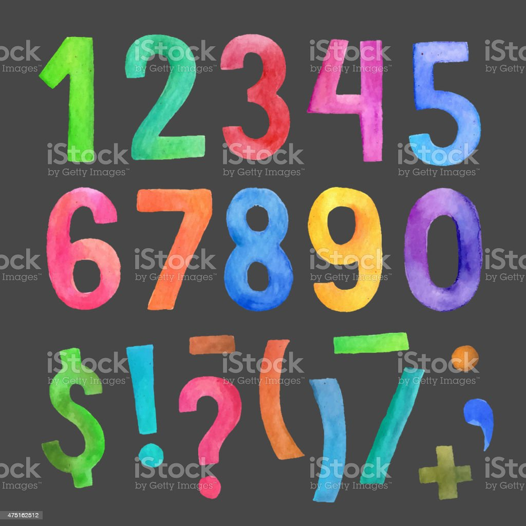 Watercolor handwritten numbers and symbols vector art illustration