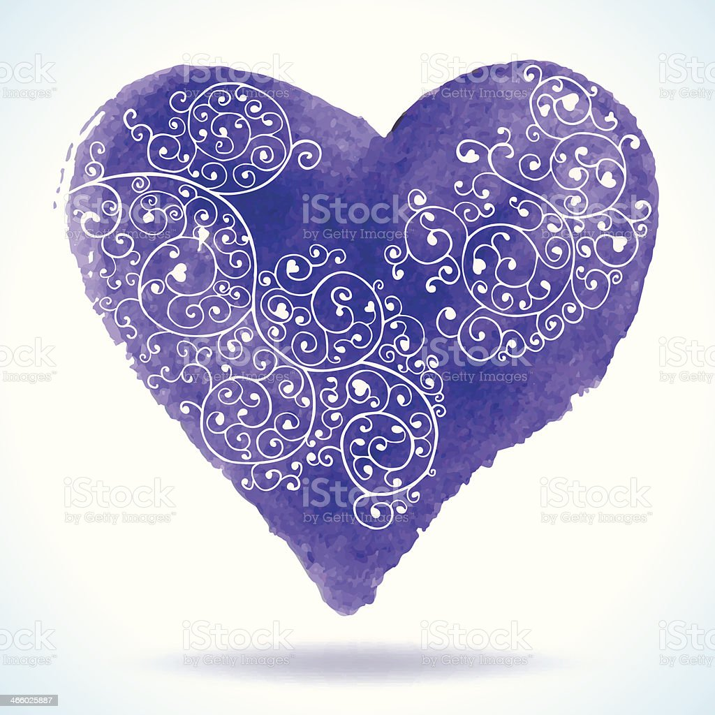 Watercolor heart isolated on white background. royalty-free stock vector art
