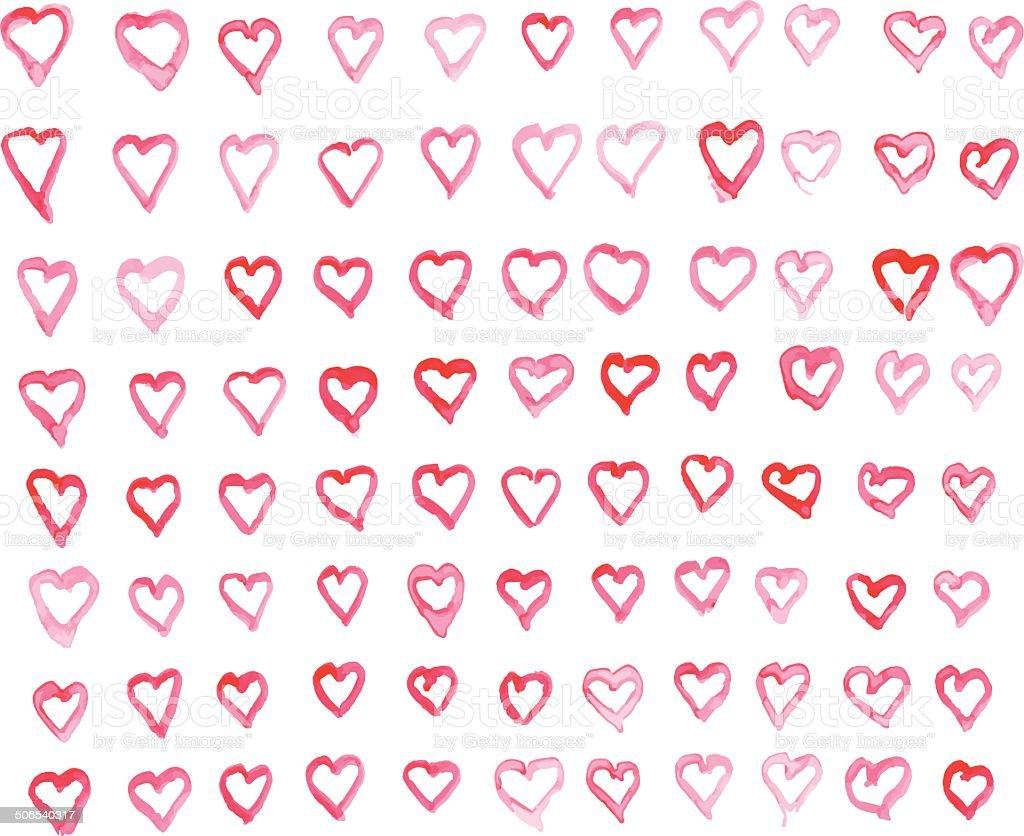 Watercolor Heart Pattern royalty-free stock vector art