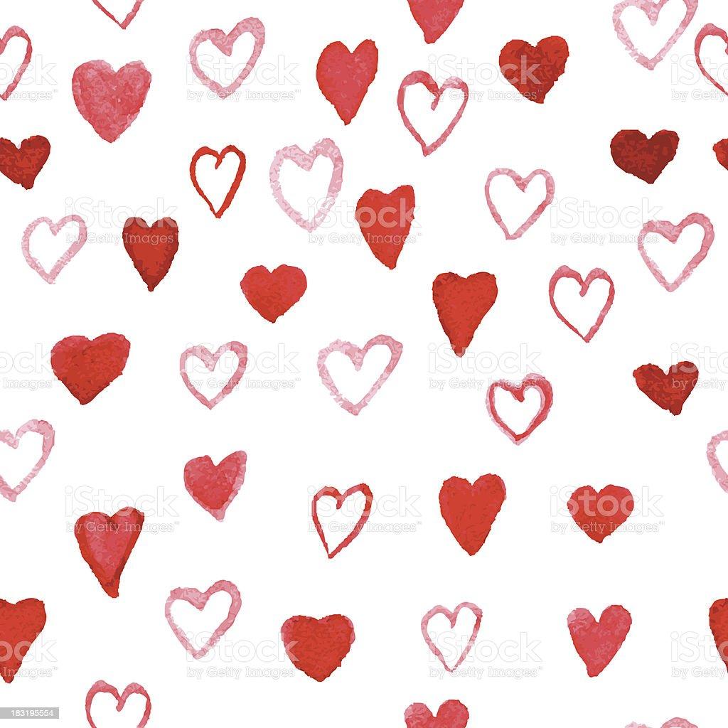 Watercolor Hearts pattern royalty-free stock vector art