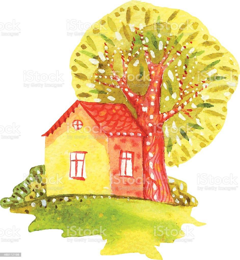 watercolor house vector art illustration