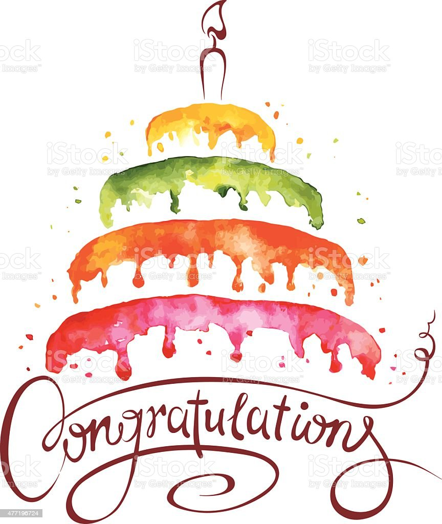Watercolor illustration -- Cake and Congratulations vector art illustration