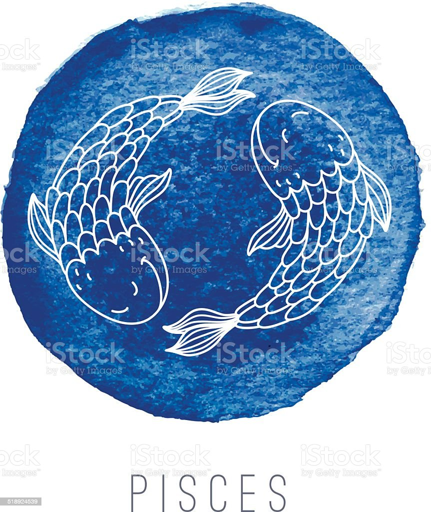 Watercolor illustration of fishes (Pisces) vector art illustration