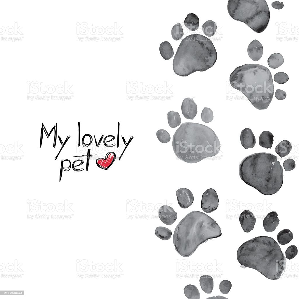 Watercolor illustration with animal footprints vector art illustration