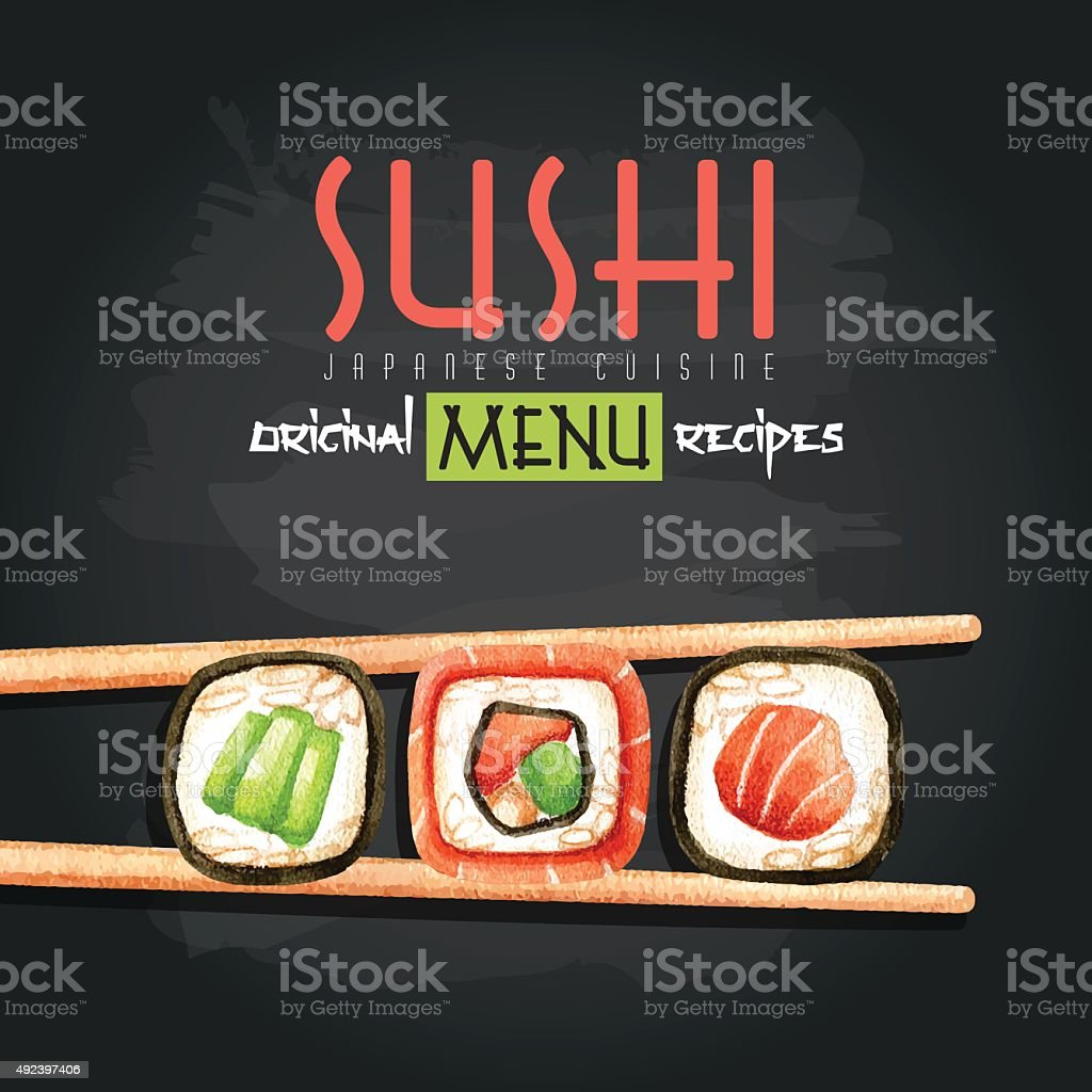 Watercolor illustration with sushi rolls and chopsticks vector art illustration