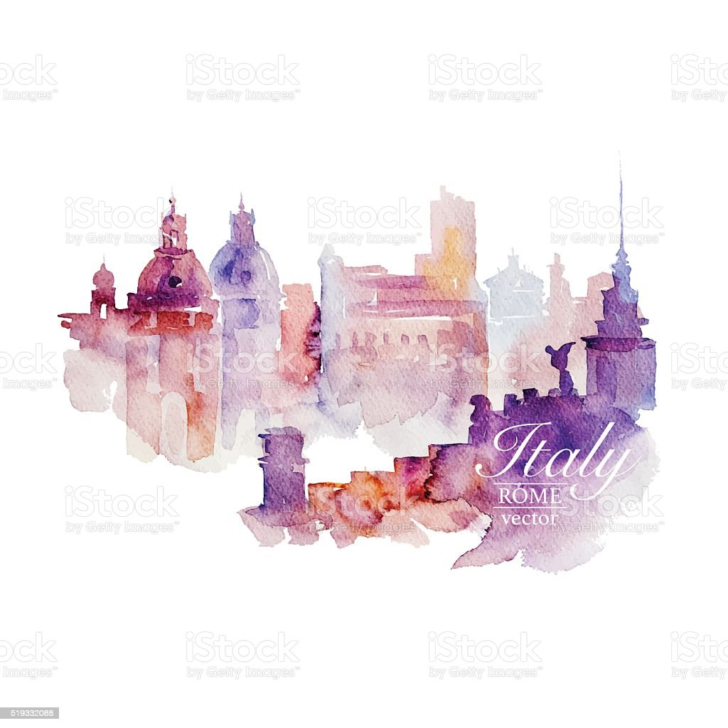 Watercolor Italy Rome vector art illustration