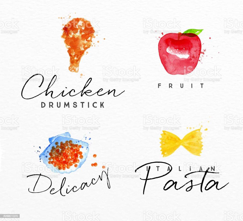 Watercolor label pasta vector art illustration
