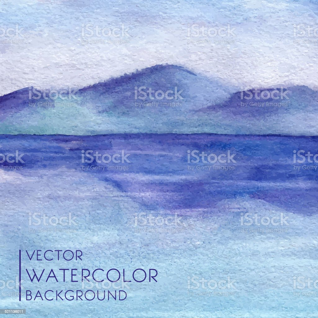 Watercolor landscape with lake and mountains in vector. vector art illustration
