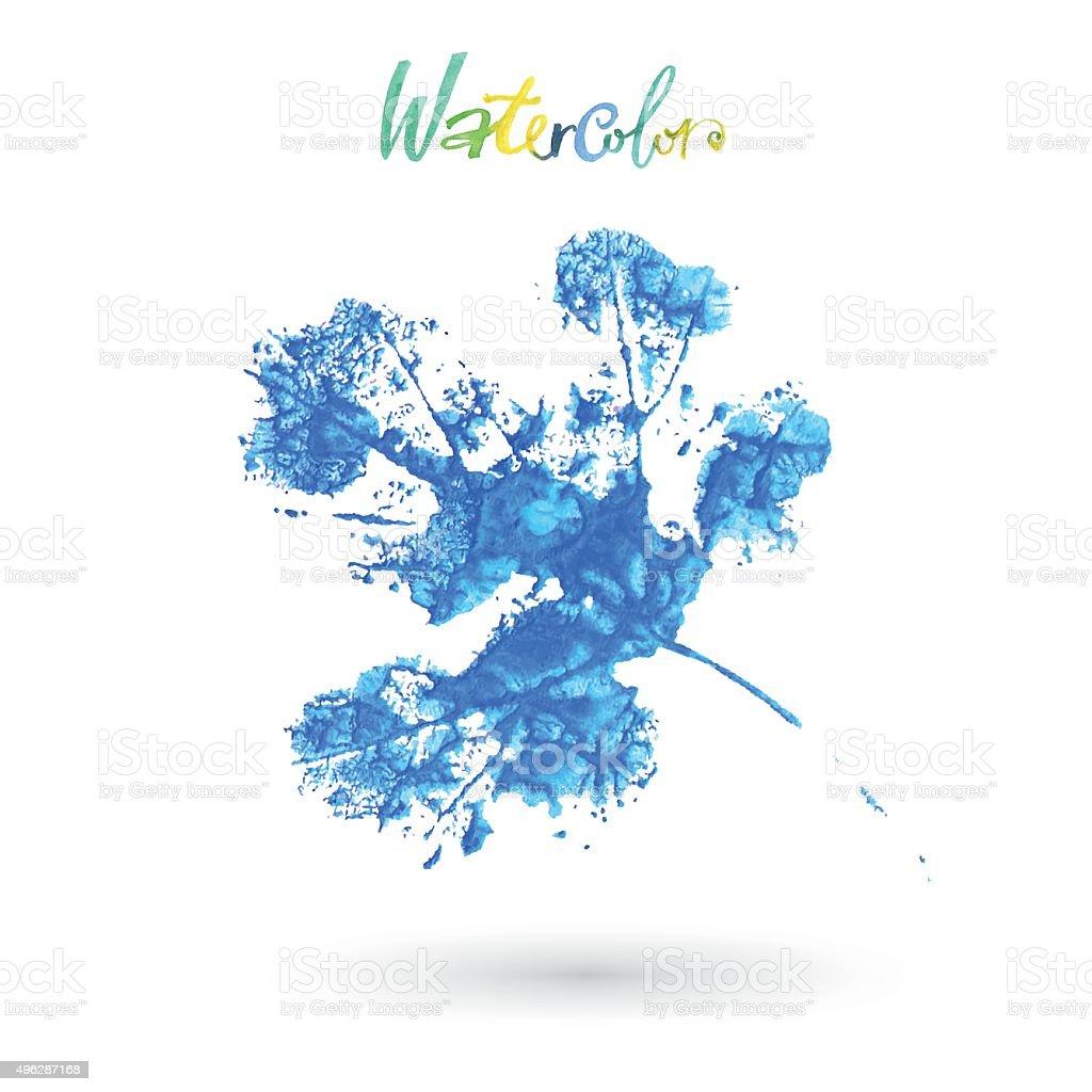 Watercolor leaf. Creative idea vector art illustration
