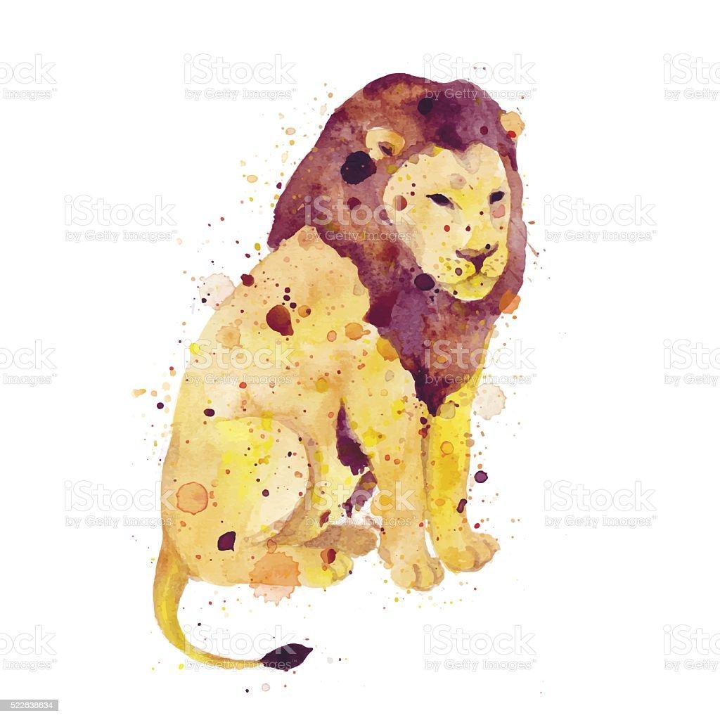 Watercolor lion vector art illustration