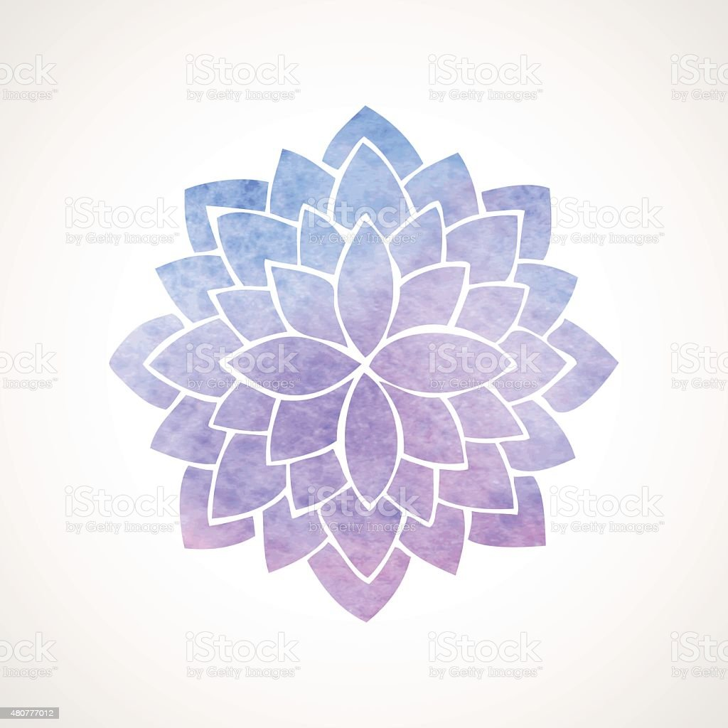 Watercolor lotus flower blue and violet vector art illustration