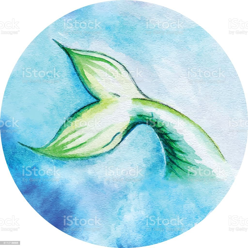 Watercolor mermaid fish tail vector circle isolated vector art illustration