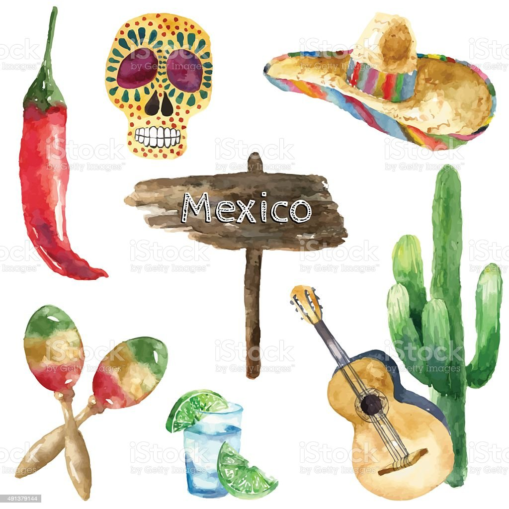 Watercolor mexico icons. vector art illustration