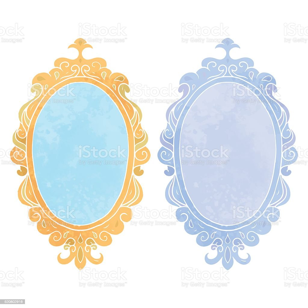 Watercolor mirrors in vintage frames vector art illustration
