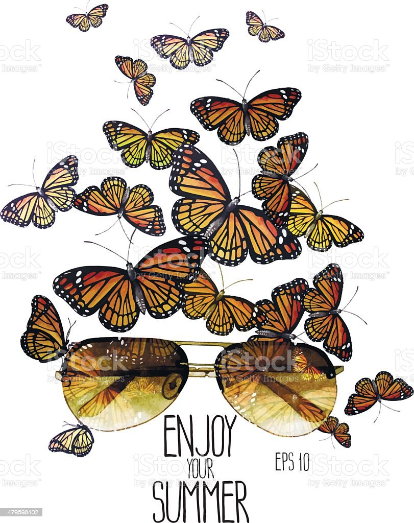 Watercolor monarch butterflies flying out of aviator sunglasses vector art illustration