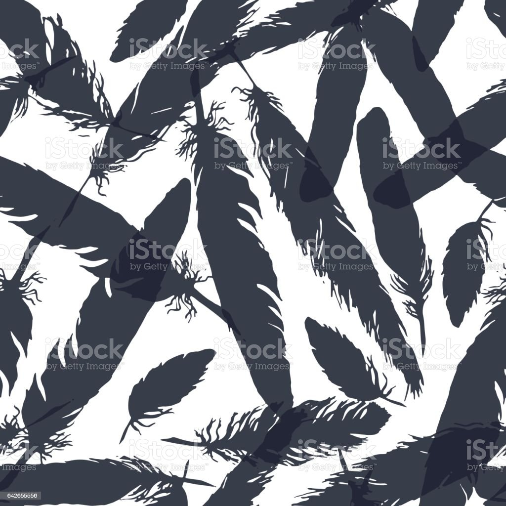 Watercolor monochrome feather seamless pattern texture background vector vector art illustration