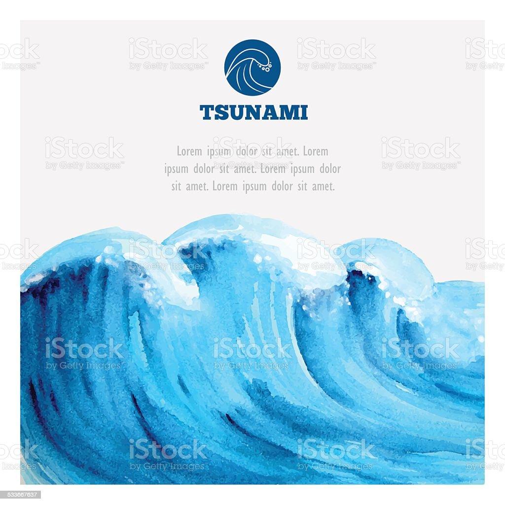 Watercolor ocean tsunami waves vector art illustration