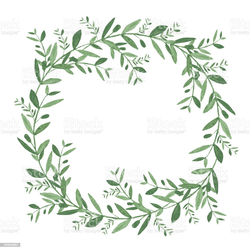 Watercolor olive wreath. Isolated vector illustration on white b vector art illustration