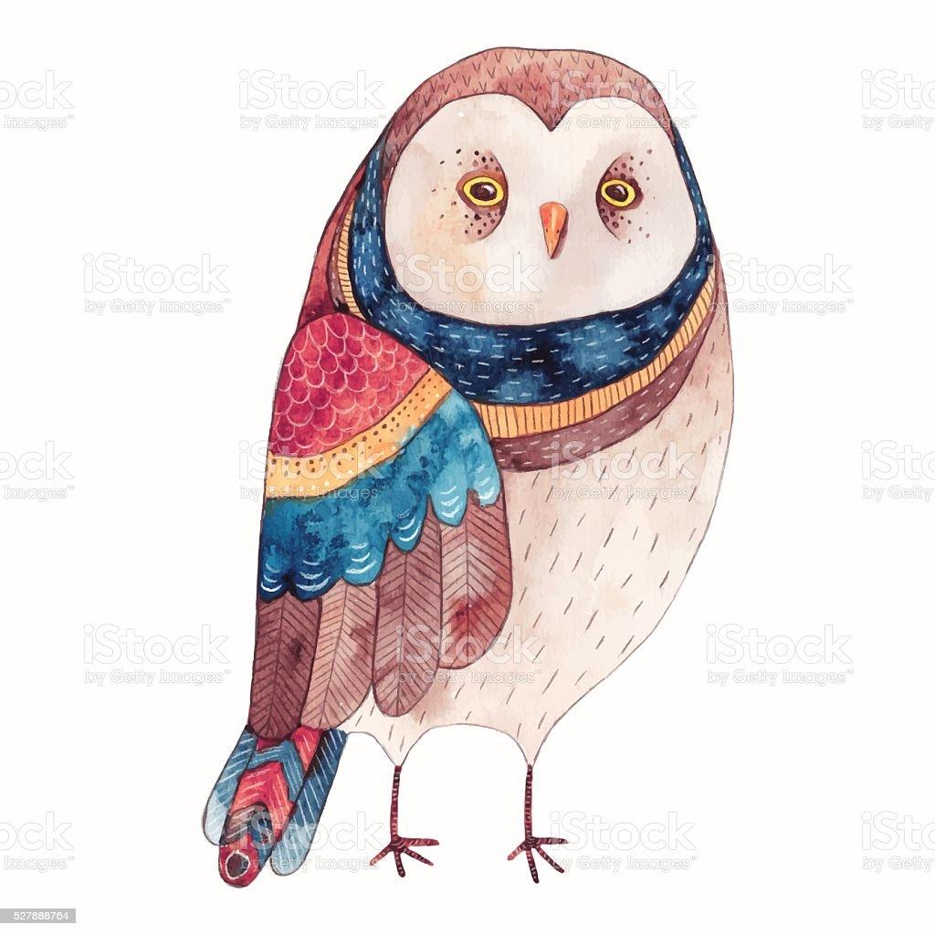 Watercolor Owl Illustration stock vector art 527888764 ...
