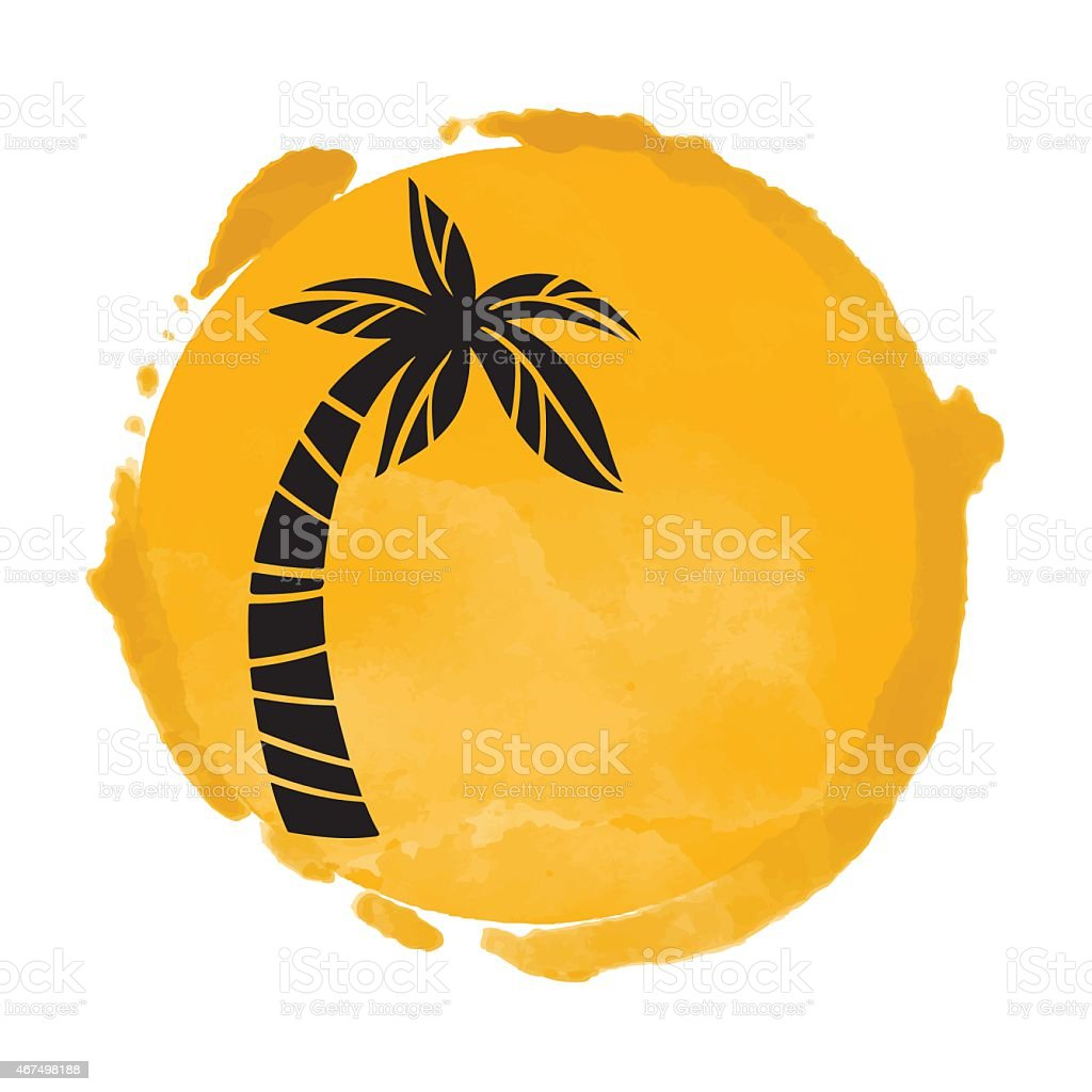 Watercolor paint stain and palm tree silhouette vector art illustration