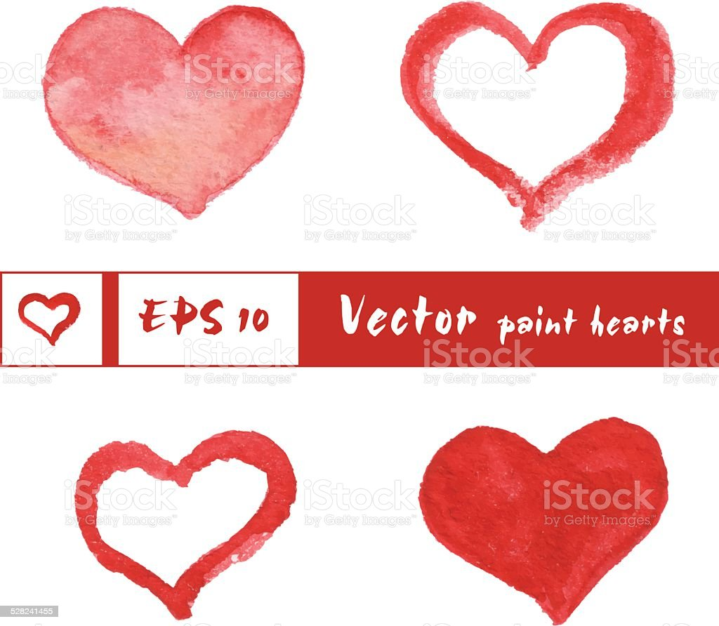 Watercolor painted red hearts set vector art illustration