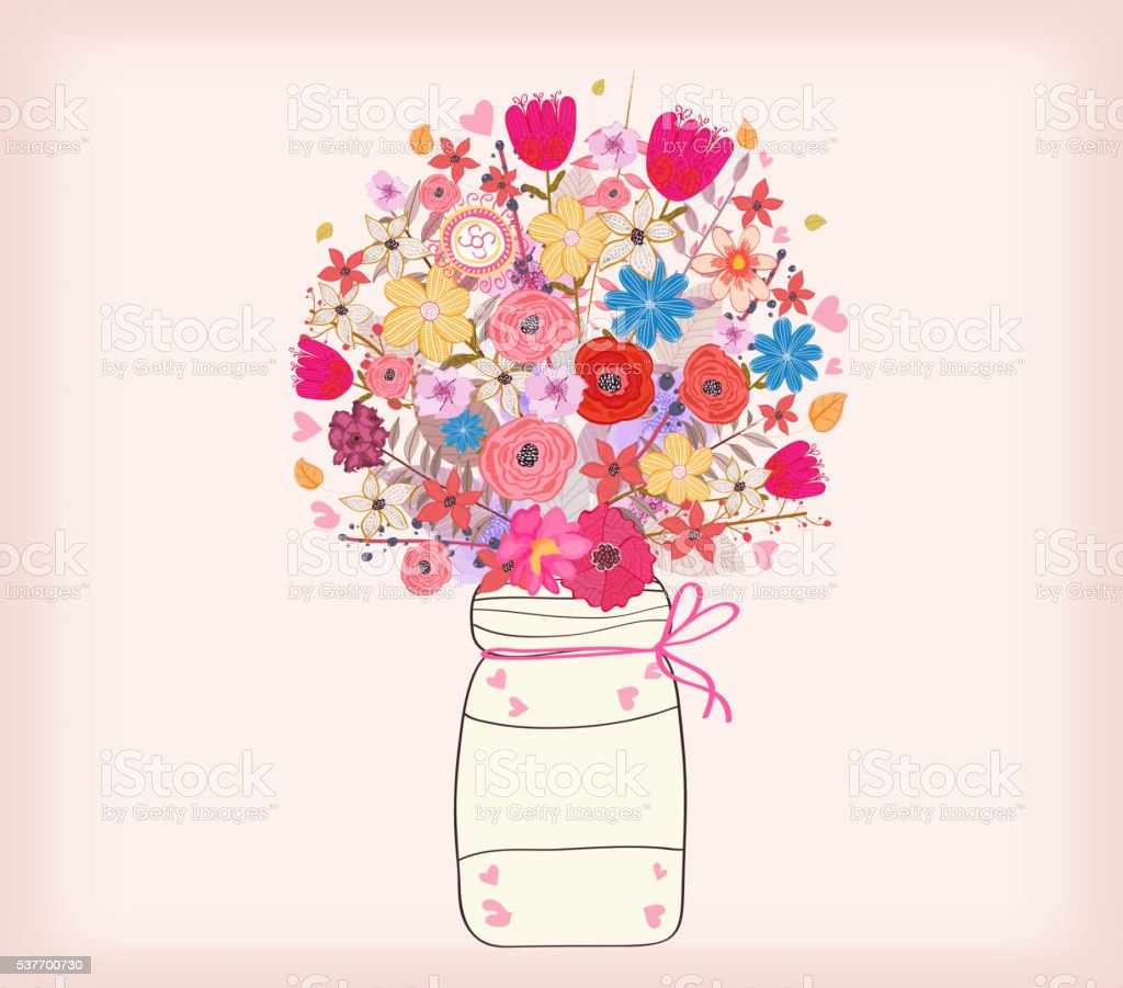 Watercolor painting bunch of flowers in a vase vector art illustration