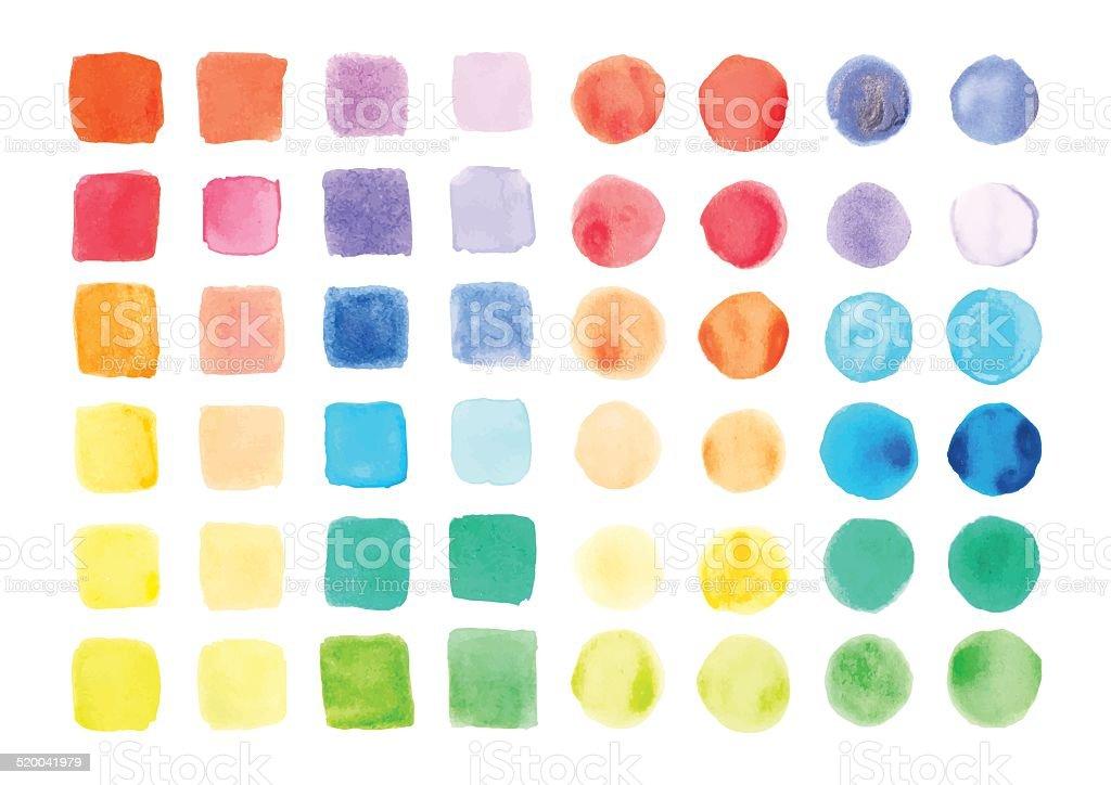 Watercolor paints palette, vector illustration vector art illustration