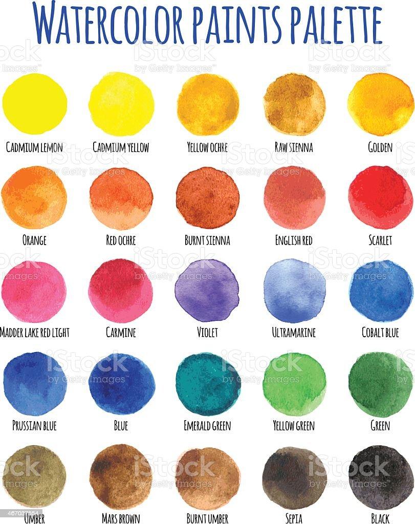 Watercolor paints palette with twenty five colors vector art illustration