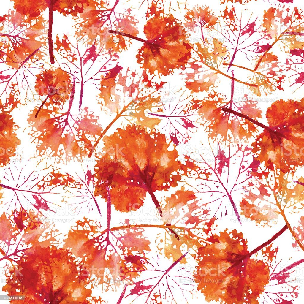 watercolor pattern of imprint leaves seamless texture background vector art illustration