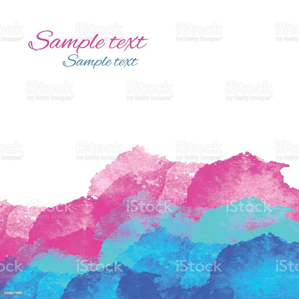 Watercolor pink, blue, waves on a white background vector art illustration