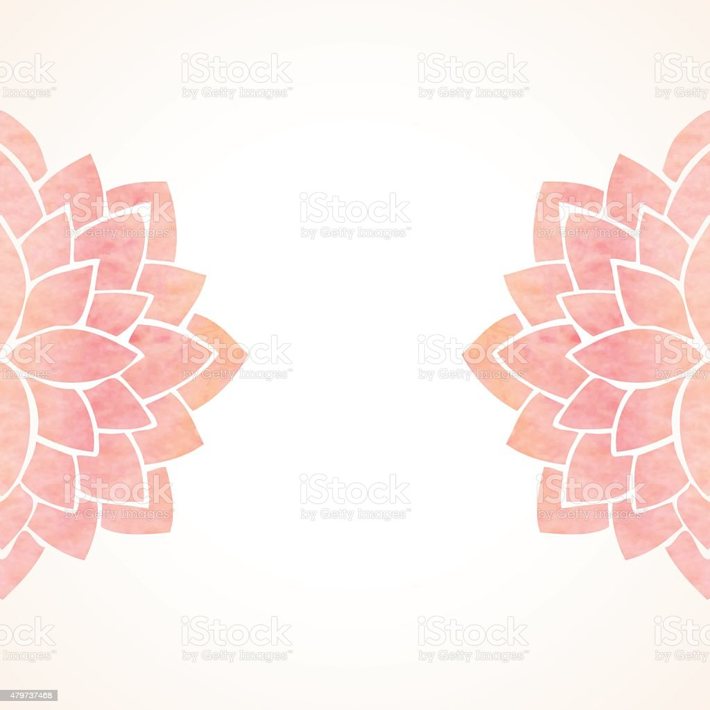 Watercolor pink floral background vector art illustration