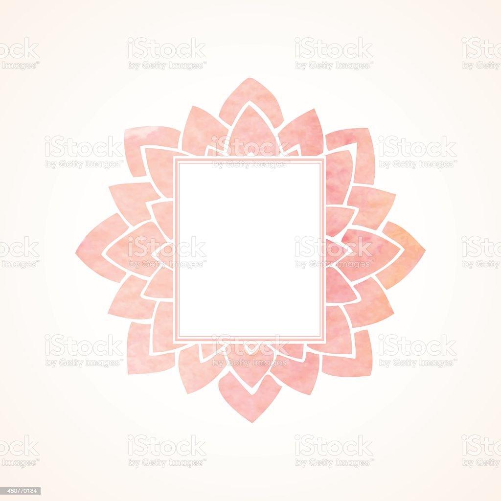 Watercolor pink floral frame. Vector illustration vector art illustration