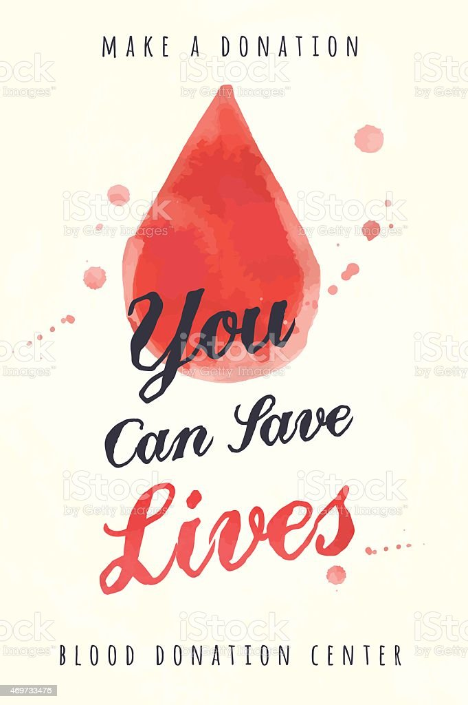 watercolor poster for blood donating vector art illustration