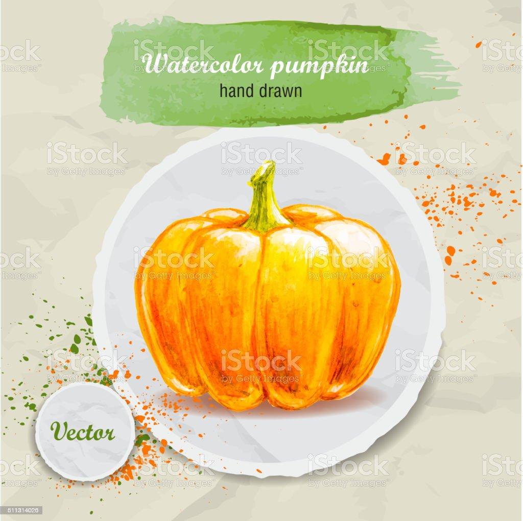 Watercolor pumpkin on round paper piece. vector art illustration