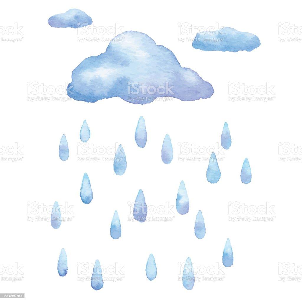 Watercolor Rain vector art illustration