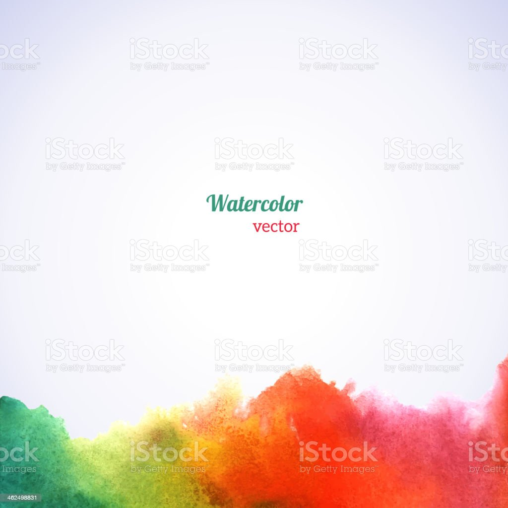 Watercolor rainbow border. vector art illustration