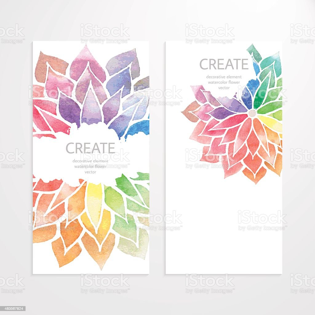 Watercolor rainbow flowers. Banners, flyers, brochures vector art illustration