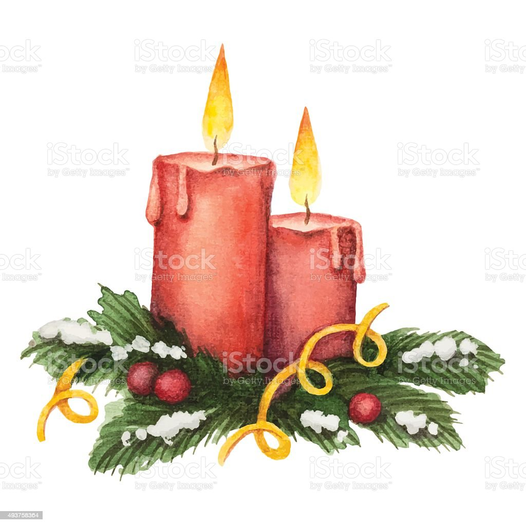 Watercolor red candle and fir branches with berries vector art illustration