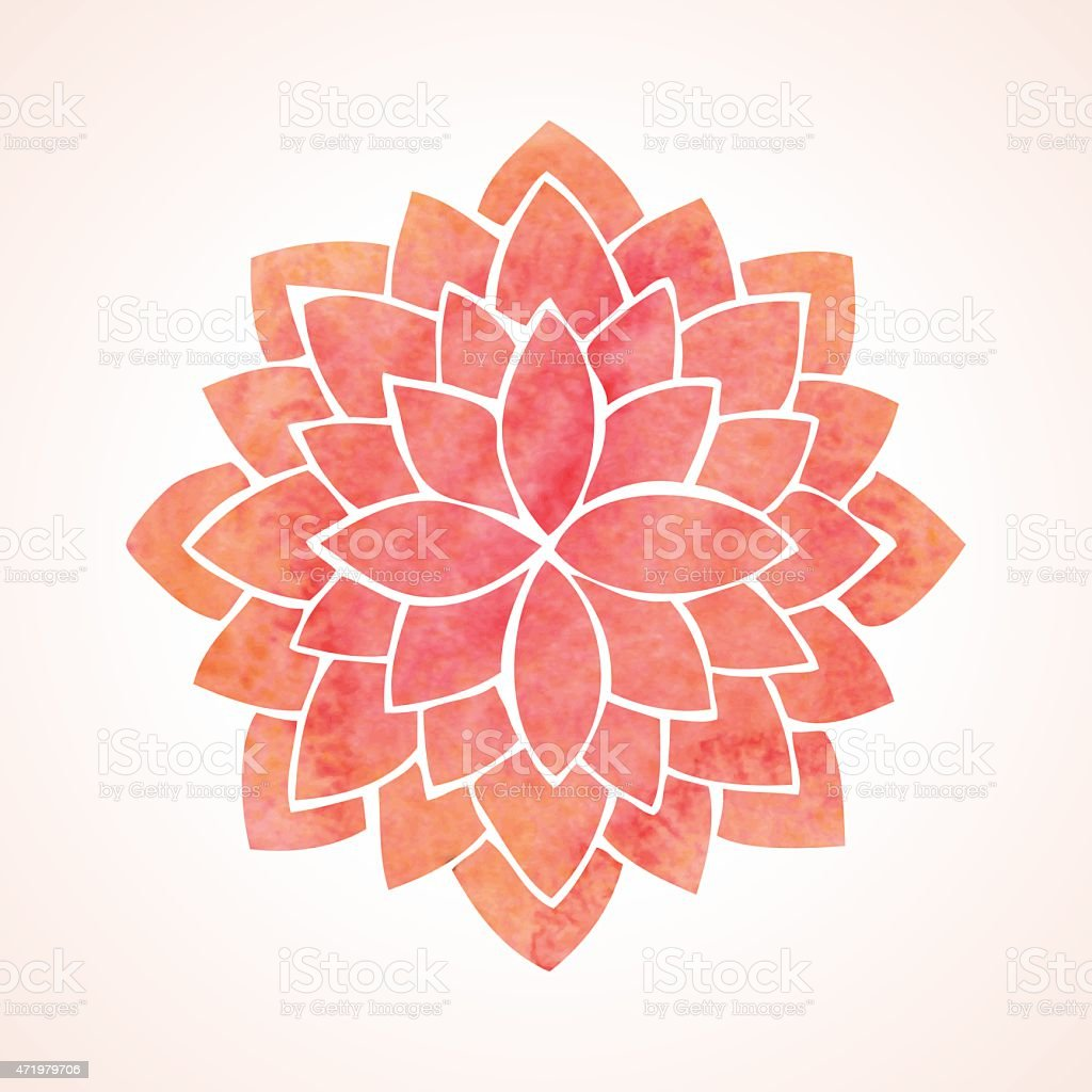 Watercolor red flower pattern. Mandala vector art illustration