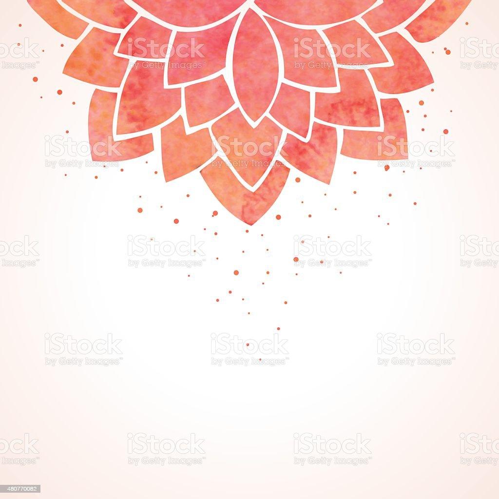 Watercolor red flower pattern. Vector background vector art illustration