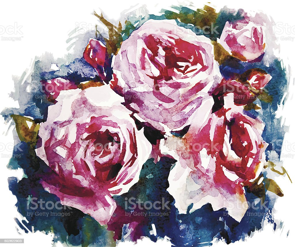 watercolor roses. A bouquet of flowers painting. Vector EPS 10. vector art illustration