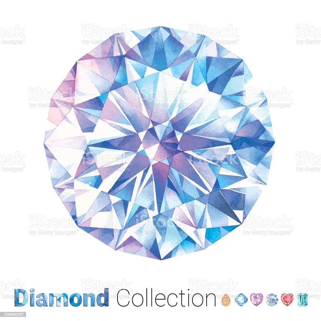 Watercolor Round Diamond vector art illustration