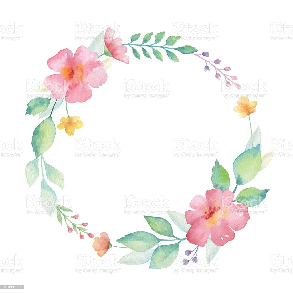 Watercolor round frame of flowers. vector art illustration