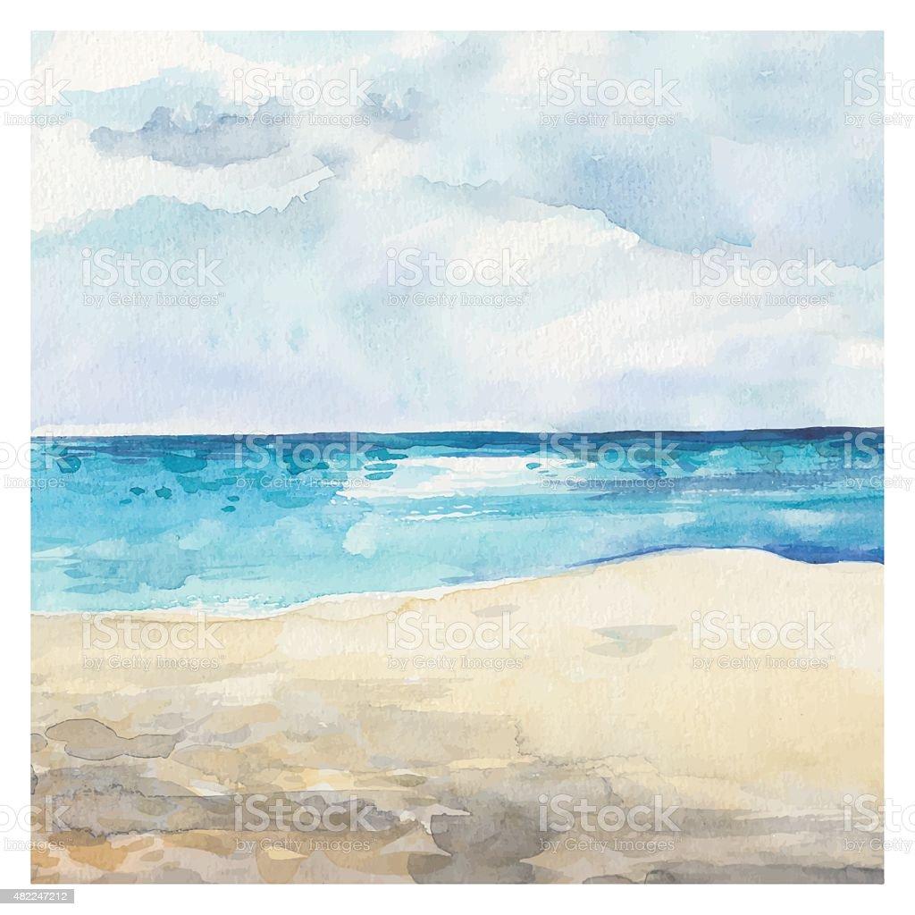 Watercolor Sea background vector art illustration