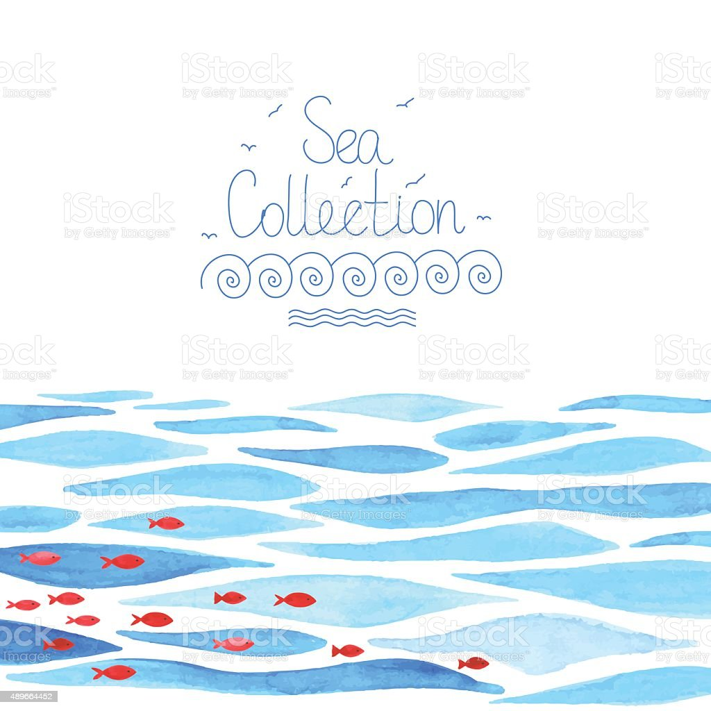 Watercolor sea background with red fish vector art illustration