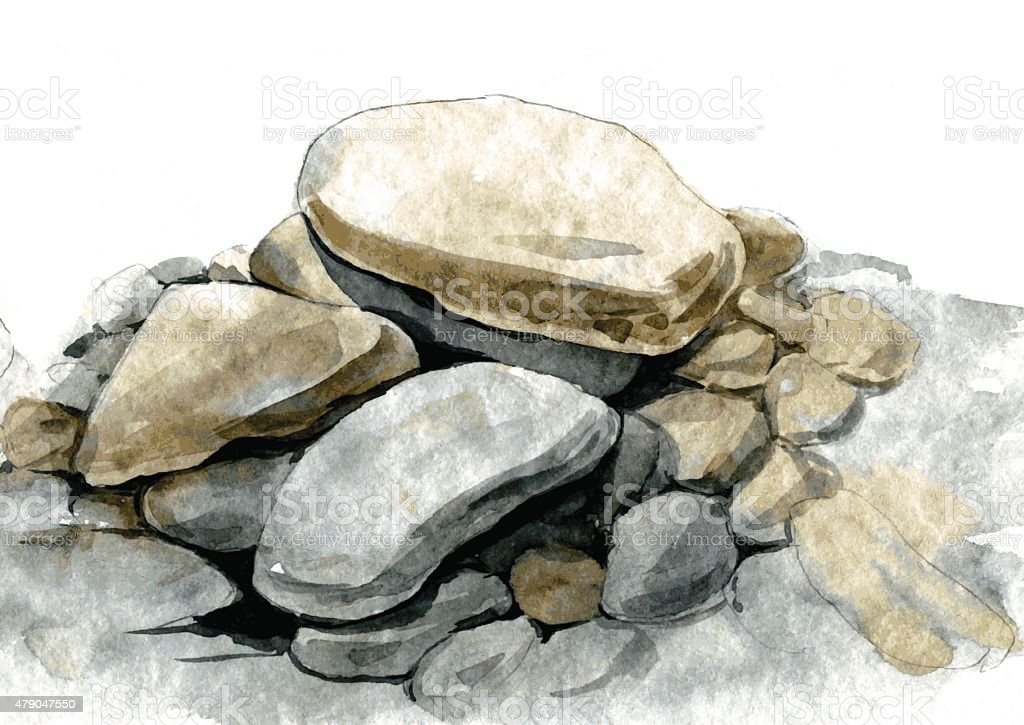 watercolor sea stones vector art illustration