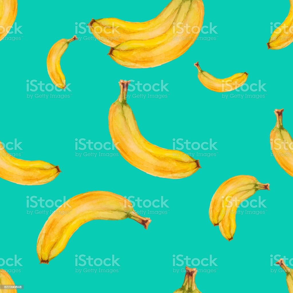 Watercolor seamless pattern with bananas vector art illustration