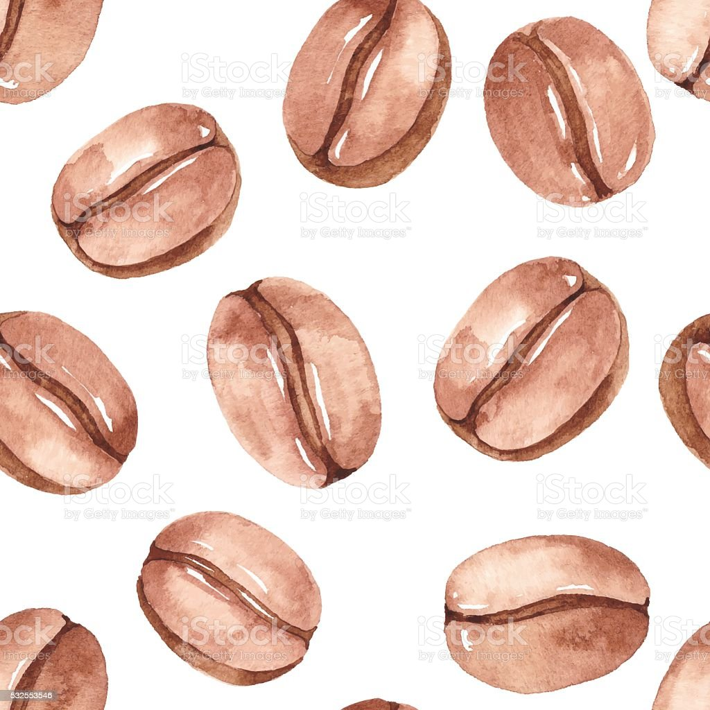 Watercolor Seamless Pattern With Coffee Bean vector art illustration