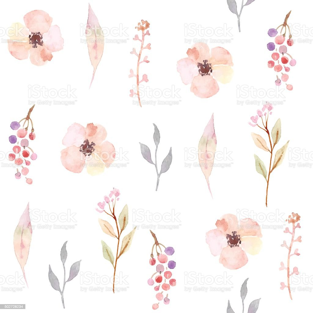Watercolor seamless pattern with flowers. Floral background design. vector art illustration
